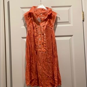 NWT Free People orange sleeveless blouse sz m